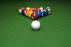 De ballen van de pool op groen fluweel Royalty-vrije Stock Foto