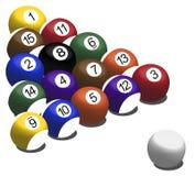 De ballen van de pool op lichtstraal Stock Afbeeldingen