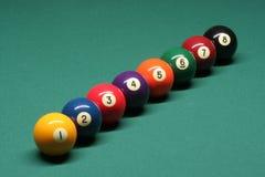 De ballen van de pool van nummer 01 tot 08 Stock Foto's