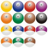 De ballen van de snooker of van het biljart Stock Foto's