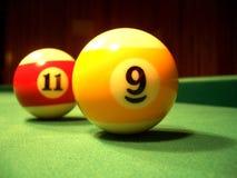De ballen van het biljart - negende & elfde Stock Afbeeldingen