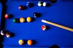 De ballen van het poolbiljart op blauwe het spelreeks van de lijstsport Snooker, Poolspel royalty-vrije stock afbeeldingen
