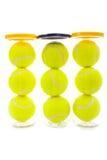 De Ballen van het tennis op Wit stock foto's