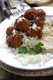 De ballen van het vlees met rijst Royalty-vrije Stock Foto