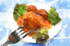 De ballen van het vlees op de plaat Stock Foto