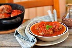 De Ballen van het vlees in Tomatensaus Stock Afbeelding