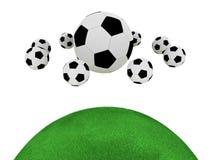 De ballen van het voetbal die op witte achtergrond worden geïsoleerdd Stock Afbeeldingen