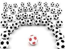 De ballen van het voetbal rond teamleider Stock Afbeelding