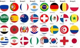 De ballen van het voetbalvoetbal van vlaggen worden gemaakt die vector illustratie