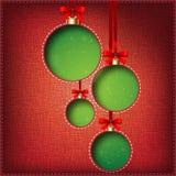 De Ballen van Kerstmis (besnoeiing de textiel) Royalty-vrije Stock Foto's