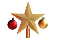De ballen van Kerstmis en de ster van Kerstmis Stock Afbeeldingen