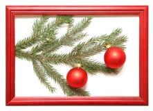De ballen van Kerstmis in houten frame Stock Afbeeldingen