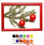 De ballen van Kerstmis in houten frame Royalty-vrije Stock Afbeelding