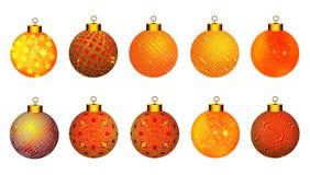 De ballen van Kerstmis Kerstmisballen in verschillende texturen voor veel gebruik vector illustratie