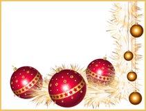 De ballen van Kerstmis met klatergoud Stock Foto