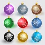 De ballen van Kerstmis met sneeuwvlokken Stock Afbeeldingen