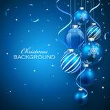 De ballen van Kerstmis op blauwe achtergrond Royalty-vrije Stock Fotografie