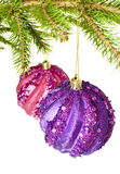 De ballen van Kerstmis op wit Royalty-vrije Stock Foto