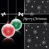 De ballen van Kerstmis op zwarte Stock Foto's