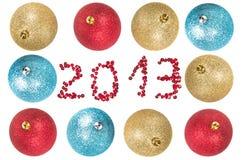 De ballen van Kerstmis rond nummer 2013 Stock Afbeelding