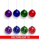 De Ballen van de Kerstmisvakantie op een witte achtergrond worden geïsoleerd die Royalty-vrije Stock Fotografie
