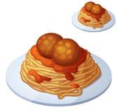 De ballen van de spaghetti en van het vlees Beeldverhaal vectorpictogram vector illustratie