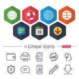 De ballen van de sport Volleyball, Basketbal, Voetbal royalty-vrije illustratie