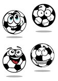 De ballenkarakters van het beeldverhaalvoetbal Stock Foto