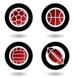 De ballenpictogrammen van sporten Stock Afbeelding