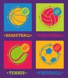 De ballenpictogrammen van sporten Voetbal, basketbal, volleyball, tennis Royalty-vrije Stock Afbeeldingen