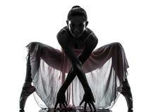 De balletdanser dansend silhouet van de vrouwenballerina royalty-vrije stock fotografie