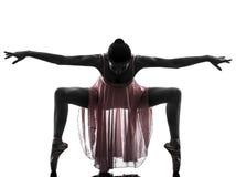 De balletdanser dansend silhouet van de vrouwenballerina Royalty-vrije Stock Afbeelding