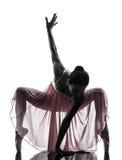 De balletdanser dansend silhouet van de vrouwenballerina royalty-vrije stock afbeeldingen