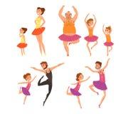 De balletmeisjes en hun vaders in tutu kleden het dansen in het beeldverhaal vectorillustraties van de balletstudio op een witte  stock illustratie