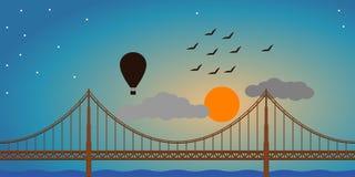 De Ballon van de brugzonsondergang Royalty-vrije Stock Foto's