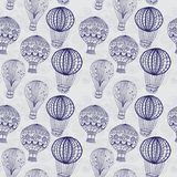 Hete luchtballon in hemel, naadloze achtergrond stock illustratie