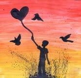 De ballon van de mensenholding in vorm van hart Waarde in de modder De tekening van de waterverf Stock Fotografie