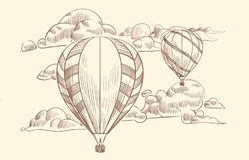 De ballon van de schetslucht in wolken Vluchtreis door luchtballons met mand in bewolkte hemel Krabbel die uitstekende vector tre stock illustratie