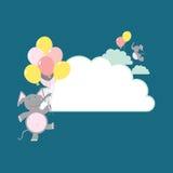 De ballonolifanten van de wolk Stock Illustratie