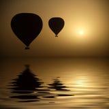 De Ballons van de hete Lucht op het Niveau van het Oog Royalty-vrije Stock Afbeeldingen