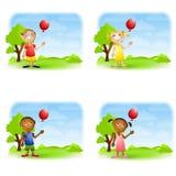 De Ballons van de Holding van jonge geitjes Stock Afbeeldingen