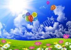 De ballons van de kleur in de donkerblauwe hemel Royalty-vrije Stock Afbeeldingen
