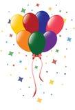 De ballons van de kleur met confettien Royalty-vrije Stock Foto