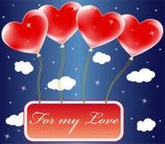 De ballons van de valentijnskaart Stock Afbeeldingen
