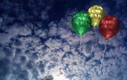 De Ballons van het nieuwjaar in Dawn Stock Afbeeldingen