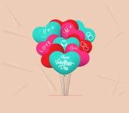 De ballons van het valentijnskaartenhart Stock Fotografie