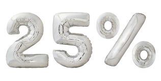 De ballons van het vijfentwintig percentenchroom Stock Afbeeldingen