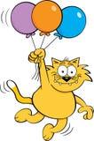De ballons van de de kattenholding van het beeldverhaal Stock Foto