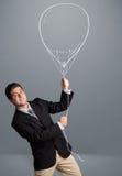 De ballontekening van de jonge mensenholding Royalty-vrije Stock Afbeeldingen