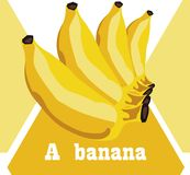 De banaan kookte gouden geel om te eten royalty-vrije illustratie